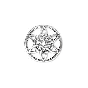 component, jbb findings, antique silver-plated brass, 18.5mm convex round with celtic star design. sold individually.