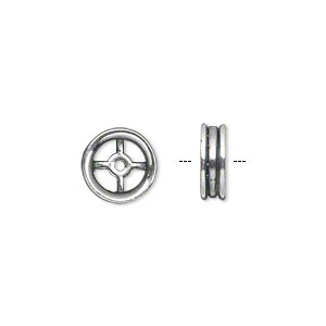 component, jbb findings, antiqued silver-plated pewter (tin-based alloy), 10mm double-sided open round with cross design. sold per pkg of 4.