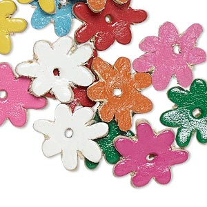 component, leather (dyed), assorted colors, 13x13mm flower. sold per pkg of 16.