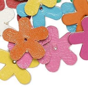 component, leather (dyed), assorted colors, 22x21mm flower. sold per pkg of 16.