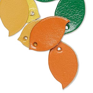 component, leather (dyed), assorted colors, 24x14mm leaf. sold per pkg of 8.