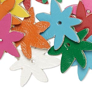 component, leather (dyed), assorted colors, 25x25mm flower. sold per pkg of 16.