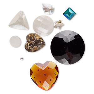 component mix, glass, mixed colors, 4-46mm mixed shape. sold per pkg of 10.