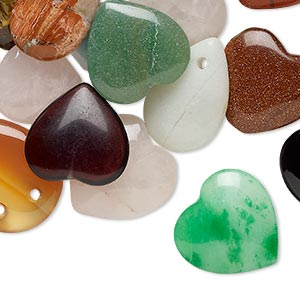component mix, multi-gemstone (natural / dyed / manmade) and glass, mixed colors, 13x13mm-36x22mm heart and teardrop. sold per pkg of 25.