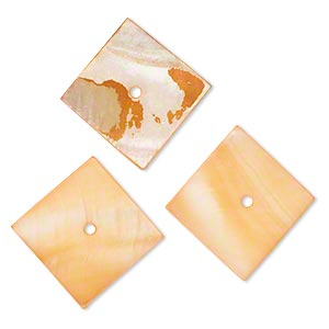 component, mother-of-pearl shell (dyed), light orange, 17x17mm-18x18mm square, mohs hardness 3-1/2. sold per pkg of 3.