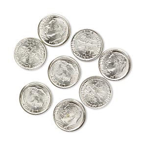 component, nickel steel, 10mm american dime coin replica with 1965. sold per pkg of 8.