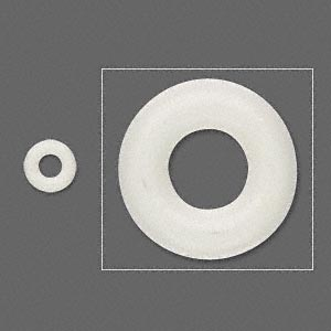 component, oh! ring™, rubber, antique white, 7mm round with 3mm hole. sold per pkg of 300.