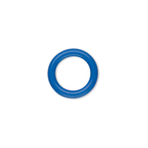 component, oh! ring™, rubber, blue, 15mm round with 10mm hole. sold per pkg of 100.