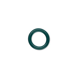 component, oh! ring™, rubber, dark green, 12mm round with 8mm hole. sold per pkg of 200.