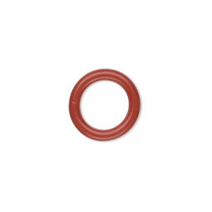 component, oh! ring™, rubber, red-orange, 15mm round with 10mm hole. sold per pkg of 100.