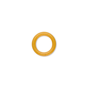 component, oh! ring™, rubber, yellow, 12mm round with 8mm hole. sold per pkg of 200.