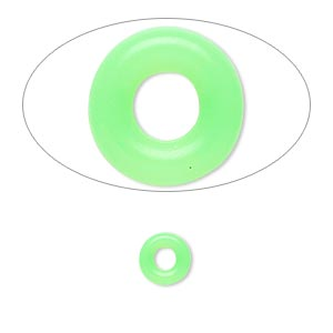 component, oh! ring™, silicone, neon green, 7mm round with 3mm hole. sold per pkg of 300.