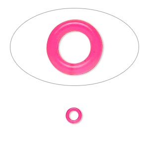 component, oh! ring™, silicone, neon pink, 5mm round with 2.5mm hole. sold per pkg of 500.