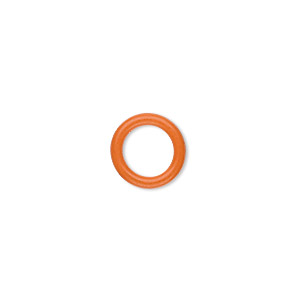 component, oh! ring™, silicone, orange, 12mm round with 8mm hole. sold per pkg of 200.
