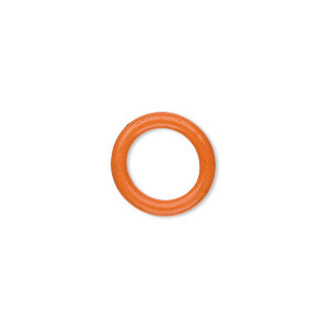 component, oh! ring™, silicone, orange, 15mm round with 10mm hole. sold per pkg of 100.