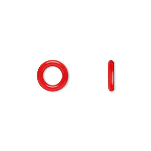 component, oh! ring™, silicone, red, 10mm round with 6mm hole. sold per pkg of 300.
