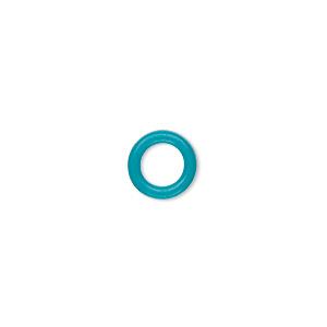 component, oh! ring™, silicone, turquoise blue, 10mm round with 6mm hole. sold per pkg of 300.