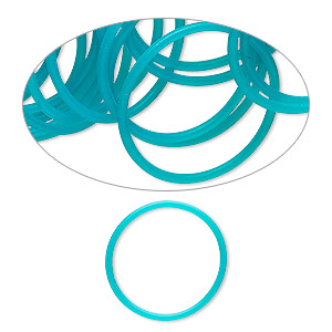 component, oh! ring™, silicone, turquoise blue, 25mm round. sold per pkg of 50.