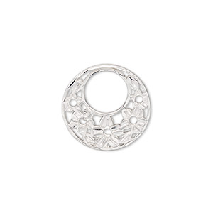 component, sterling silver, 18mm single-sided diamond-cut go-go with flower design. sold individually.