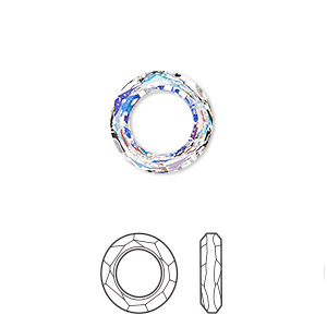 component, swarovski crystals, crystal ab, 14mm faceted cosmic ring fancy stone (4139). sold per pkg of 72.