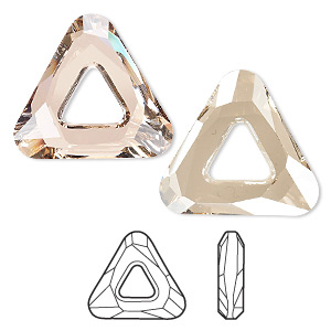 component, swarovski crystals, crystal golden shadow, 20x20x20mm faceted cosmic triangle fancy stone (4737). sold individually.