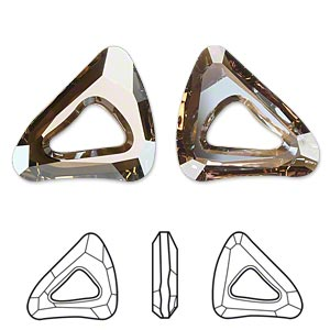 component, swarovski crystals, crystal passions, crystal bronze shade, 23x20mm faceted organic cosmic triangle fancy stone (4736). sold individually.