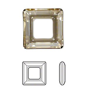 component, swarovski crystals, crystal passions, crystal golden shadow, 20x20mm faceted square ring fancy stone (4439). sold individually.