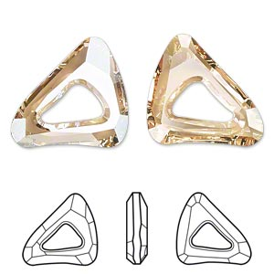 component, swarovski crystals, crystal passions, crystal golden shadow, 23x20mm faceted organic cosmic triangle fancy stone (4736). sold per pkg of 6.