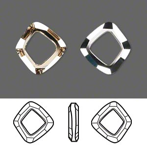 component, swarovski crystals, crystal passions, crystal golden shadow cal v si, 14x13mm faceted cosmic square ring fancy stone (4437). sold per pkg of 12.