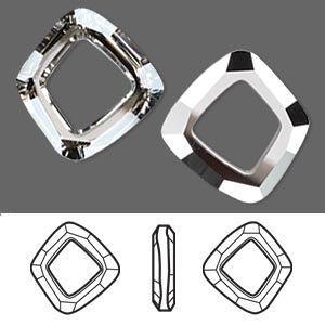component, swarovski crystals, crystal passions, crystal silver shade cal v si, 22.5x20mm faceted cosmic square ring fancy stone (4437). sold individually.