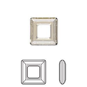 component, swarovski crystals, crystal silver shade, 14mm faceted square ring fancy stone (4439). sold individually.