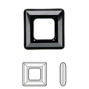 component, swarovski crystals, jet, 20x20mm faceted square ring fancy stone (4439). sold per pkg of 24.