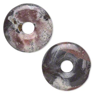 component, terra rosa jasper (natural), 25mm round donut, b grade, mohs hardness 6-1/2 to 7. sold per pkg of 2.