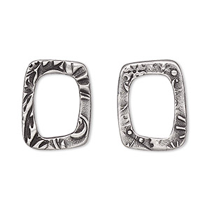 component, tierracast, antiqued pewter (tin-based alloy), 19.5x15mm open rectangle with flora design and 13x9mm hole. sold per pkg of 2.