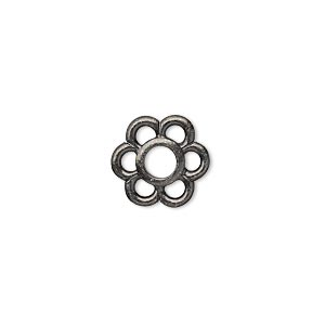 component, tierracast, black-plated pewter (tin-based alloy), 13.5x12.5mm 6-petal open flower with 4mm center hole. sold per pkg of 2.