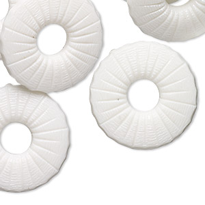 component, vintage german acrylic, opaque white, 25mm round donut with textured design. sold per pkg of 12.