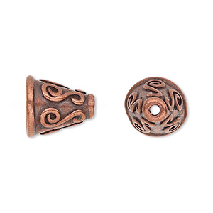 cone, antique copper-plated pewter (tin-based alloy), 14x13mm round with scroll design, fits 12-14mm bead. sold individually.