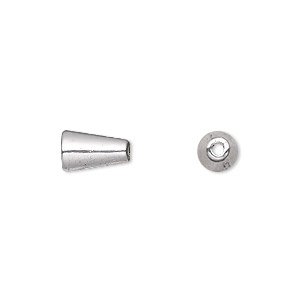 cone, antique silver-plated pewter (zinc-based alloy), 10x6mm, 3.5mm inside diameter. sold per pkg of 50.