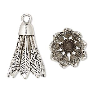 cone, antique silver-plated pewter (zinc-based alloy), 25x18mm feather, 13mm inside diameter. sold per pkg of 4.