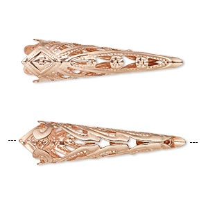 cone, copper-plated brass, 35x9mm filigree, fits 8mm bead. sold per pkg of 6.