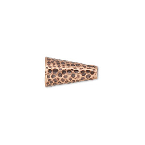 cone, jbb findings, antique copper-plated brass, 15.5x9mm hammered, fits 7.5mm bead. sold individually.