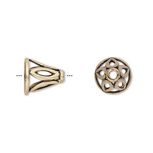 cone, jbb findings, antiqued brass, 11x11mm with cutout marquise design, fits 8.5mm bead. sold individually.