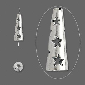cone, jbb findings, antiqued sterling silver, 13.5x5mm with cutout stars, 3.5mm inside diameter. sold per pkg of 2.