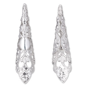 cone, silver-plated aluminum, 50x12mm filigree, fits 8mm curved round bead. sold per pkg of 25.