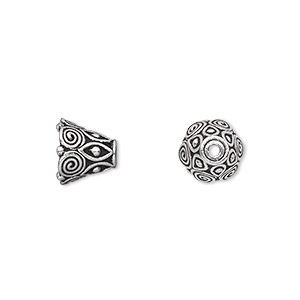 cone, tierracast, antique silver-plated pewter (tin-based alloy), 9x8.5mm with swirls, fits 8-10mm bead. sold per pkg of 2.