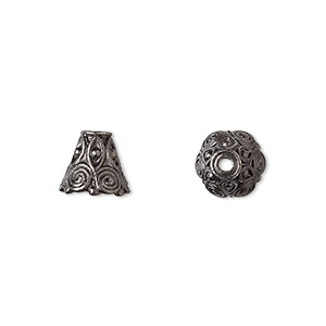 cone, tierracast, black-plated pewter (tin-based alloy), 9x8.5mm beaded with swirls, fits 8-10mm bead. sold per pkg of 2.