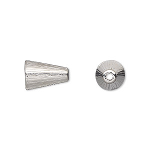 cone, tierracast, rhodium-plated pewter (tin-based alloy), 12.5x8mm ridged, fits 8-10mm bead. sold per pkg of 2.