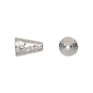 cone, tierracast, rhodium-plated pewter (tin-based alloy), 12.5x9mm hammered, fits 8-10mm bead. sold per pkg of 2.