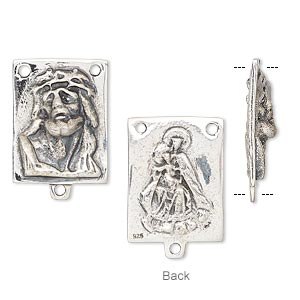 connector, antiqued sterling silver, 19x14mm double-sided rectangle with jesus face and mother with child rosary. sold individually.