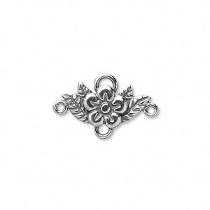 connector, jbb findings, sterling silver, 18x9mm fancy flower with 4 loops. sold individually.
